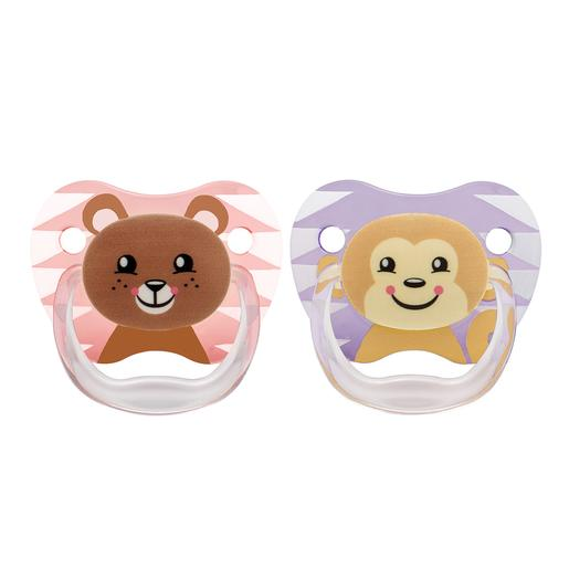 Dr Brown's - Pack 2 Chupetas Animais 6-12 meses Rosa