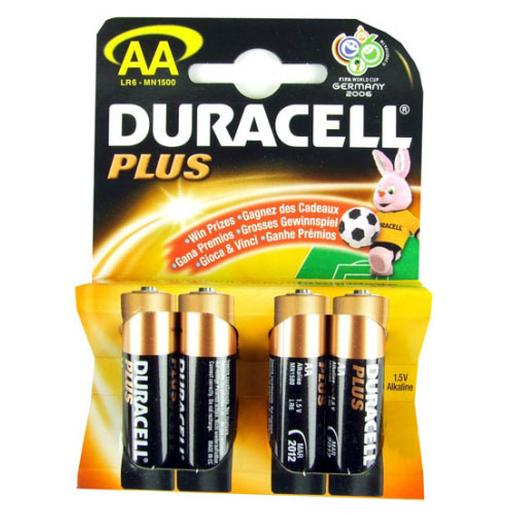Duracell - Pack 4 pilhas AA Duracell Plus