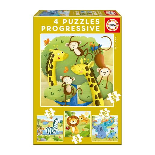 Educa Borrás - Animais Selvagens - Pack 4 Puzzles Progressivos