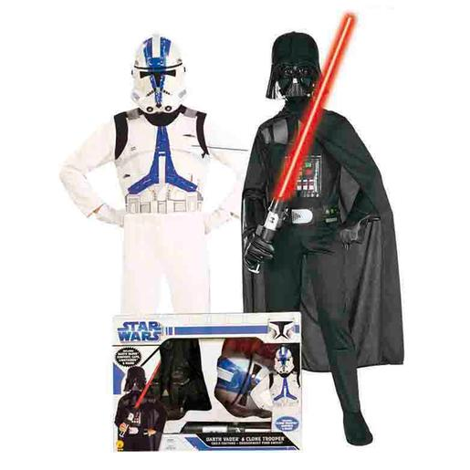 Star Wars - Pack Darth Vader e Clone Trooper - Disfarce Infantil 5-7 anos