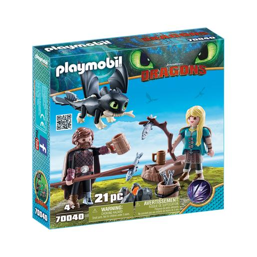 Playmobil - Hiccup e Astrid com Dragão Bebé - 70040