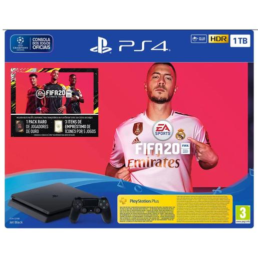 PS4 - Pack Consola PS4 Slim Preto 1TB com FIFA 20 e 14 dias com PS PLUS