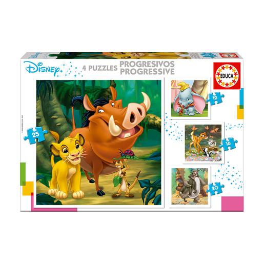 Educa Borrás - Personagens Disney - Pack 4 Puzzles Progressivos