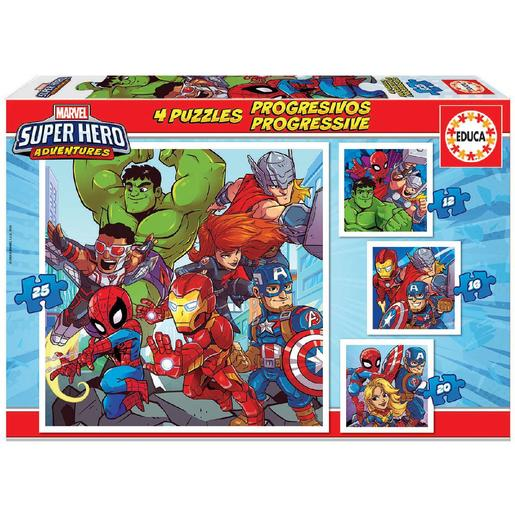 Educa Borrás - Marvel Super Hero Adventure - Pack 4 Puzzles Progressivos